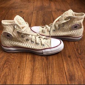 Converse Crochet Hi-Top Cream Sneakers Size 6